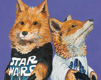 Digital Print of Original Painting 2 Foxes in Star Wars T-shirts Free Shipping in United States