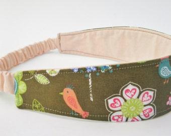 Reversible Headband, Bird Head Band, Flower Head Wrap, Cotton Headband, Women's Hair Wrap, Retro Headband, Yoga Headband, Stocking Stuffer