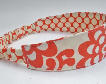 Reversible Headband, Cherry Lotus Flower, Made to Match Tula Vivian, Polka Dot Band, Elastic Head Band, Yoga Headband, Red Headband