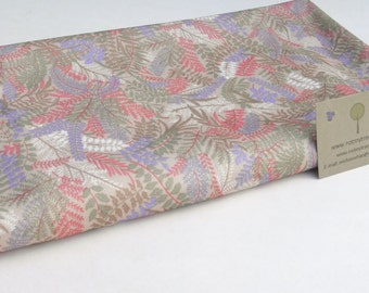 Vintage Fabric, Pastel Ferns, Lightweight Polyester, Pink and Purple, Recycled Yardage, Upcycled Supply, Stretch