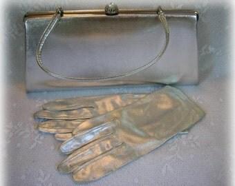 Vintage Silver Foil Handbag Purse and Gloves