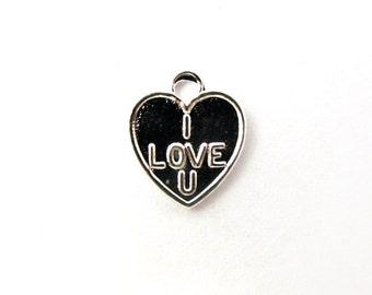 """Shiny Silver Plated """"I Love U"""" Charms (12x) (V153)"""