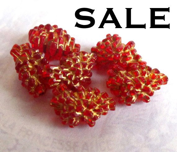 Vintage West German Gold And Red Rock Beads (8X) (B616) SALE - 50% off