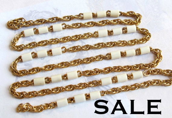 Vintage Gold Plated Rope Chain With Plastic Tube Beads (3 Feet) (C551) SALE - 25% Off