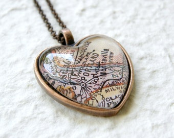 Portland Map Necklace - Portland, Oregon - YOU Choose your favorite map out of 25 choices