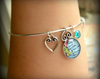 Custom Map Charm Bracelet - Personalized Map - Adjustable Charm Bangle - Choose your location, charm, and birthstone