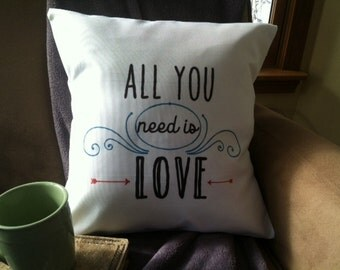 all you need is love  throw pillow cover, decorative throw pillow cover