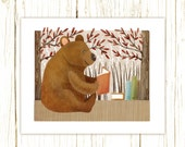 bear art print -- The Bookish Forest: Bear - childrens art illustration nursery print cute and whimsical woodland forest