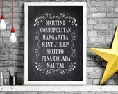 COCKTAILS - TYPOGRAPHY Vintage Style Print  - Chalkboard, Kraft, Black or White Print-  Digital Download