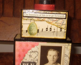 Altered art collage blocks....Fly