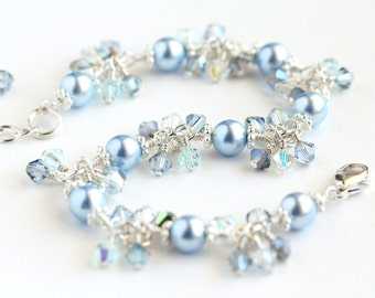 Winter Ice Cluster Bracelet II with Light Blue Swarovski Pearls, Swarovski Crystals, and Sterling Silver