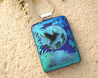 Hunningbird Necklace, Fused Glass Jewelry, Dichroic Jewelry,  Blue Necklace, Dichroic Glass Necklace, Fused Glass Pendant Chain,  062716p104
