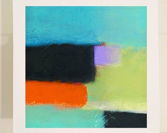 Abstract Painting Print on Paper with Turquoise, Orange, Green and Black Design - 10 x 10 - 12 x 12