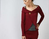 womens merino circle wrap with foldover collar and pin closure - made to order