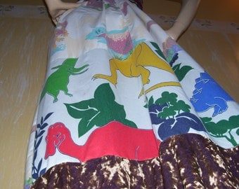 Dinosaur Dress OOAK Upcycled Adult Dino Geek T Rex Maxi Sundress Mom Party Dress M L XL Plus Size