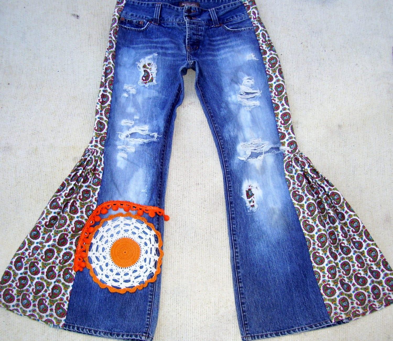 Hippie Bell Bottom Jeans Holister Distressed Shredded Elephant