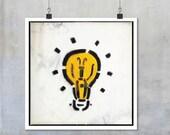 Graffiti Photograph: Yellow Lightbulb Stencil - Liverpool urban wall art home decor photo big print poster photograph 12x12 18x18 22x22