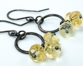 Citrine Hoop Earrings in Oxidized Sterling Silver