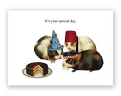 Guinea Pigs - Birthday Card - Party - Hats - Cake