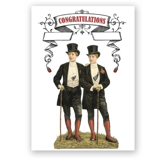 A Day for Top Hats - Gay Wedding or Anniversary Card