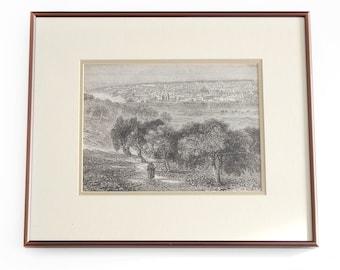 Jerusalem from the Mount of Olives Original 19th Century Print - Illustrated London News 1862 Framed Matted Antique Landscape Illustration