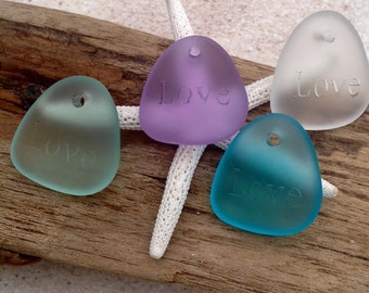 Purple sea glass bead,seaglass pendant,quotes,sayings,love,beach glass pendant,seaglass necklace,beach jewelry,drilled,supplies,glass bead.