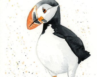 "Puffin Watercolor Art Print Wall Decor 5""x7"", 8""x10"", and 11""x14"""