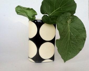 Handmade ceramic Dot vase black and white