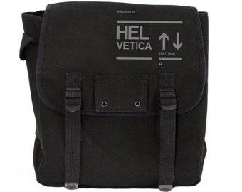 Helvetica Backpack, Canvas Backpack, Rucksack, Travel Backpack, Typography (Black & Green) Men's Backpack, Women's Backpack
