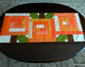 Quilted Table Runner,  Reversible, Pumpkin Patch, Log Cabin Quilt Pattern, Orange Pumpkins, Brown Stems, Green Leaves, Handmade Table Linens