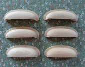 Set of 6 New Unfinished Solid Maple Wood Cabinet Drawer Hardware Cup Bin Pulls