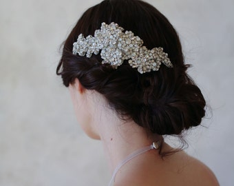 Bridal crystal hair comb, small - Crystal texture flower headpiece, small - Style 551 - Ready to Ship