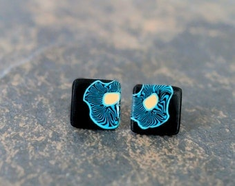 Teal poppies stud earrings. Tiffany blue earrings. Post earrings. Studs. Earring posts. Polymer clay. Square. 11mm