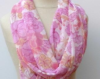Blush pink flowers Infinity Loop scarf circle handmade from Indian dupatta Eternity Ethnic hippie Boho