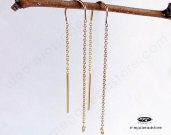 1 Pair U Ear threader Earrings Ear thread 14k gold Filled  F219GF-U