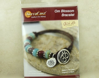 TierraCast Quick Kit > Om Blossom Bracelet - Yoga Zen Tranquility Spiritual Leather - American Made Lead Free Pewter I ship Internationally
