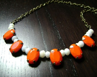 Game Day Faceted Gem and Crystal Necklace in White and Orange