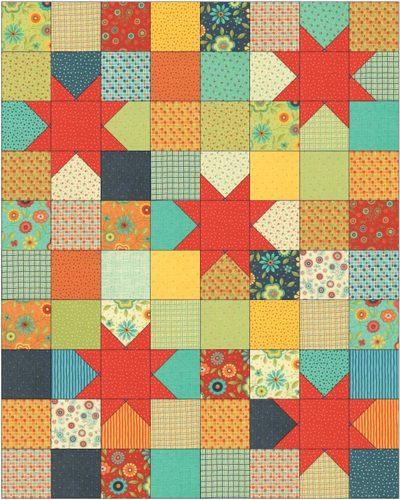 PDF Baby Quilt and Lap Quilt Pattern, .Quick and Easy