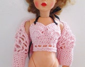 PINK Crochet halter top, half sweater for 10-12 inch dolls, Ideal Tammy and Pedigree Sindy