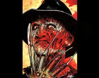 "Print 11x17"" - Freddy Krueger - Nightmare on Elm Street Horror Dark Art 80s Vintage Wes Craven Knifes Kill Death Movie Scary Halloween"