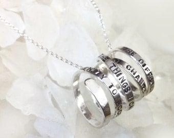 Sterling Serenity Prayer Spiral Pendant Necklace