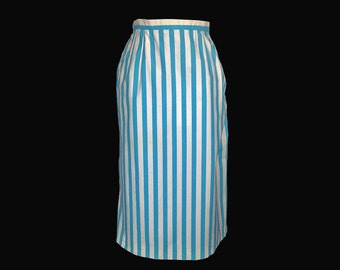 Vintage Skirt, 1970s, Cotton, Blue and Whte Stripe, Summer, Kick Pleat, Straight, Pocket, Small