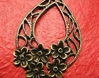 4pc antique bronze metal flower pendant-1680Fx2