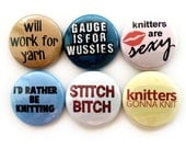 One Inch Knitting Buttons or Knitting Magnets - Funny Knitting Badges - Great Gift for Knitters! (4th set)