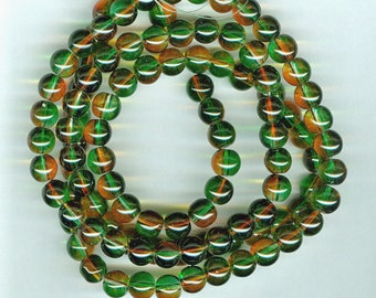 8mm Green and Orange Two Color Glass Round Beads Long Strand
