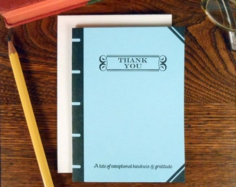 letterpress thank you book cover greeting card tale of exceptional kindness & gratitude blue book lover