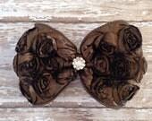 Satin Brown Rosette Bow Hair Clip, Rhinestone, Fall Colors, Children Hair Clip, Photo Prop, Dance Accessories, School Photos, Fall Wedding