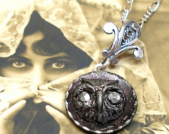 OWL Antique BUTTON necklace, Victorian bird head on sterling silver chain.