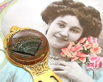 1800s BUTTON bookmark, Victorian Hand Fan button on gold. IUnique present, gift, stocking stuffer.