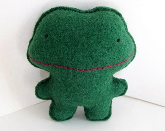 Green Frog - Recycled Wool Sweater Plush Toy
